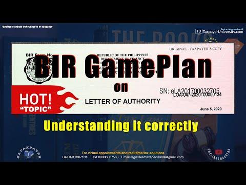 Bir gameplan on letter of authority, understanding it correctly, emelino t maestro
